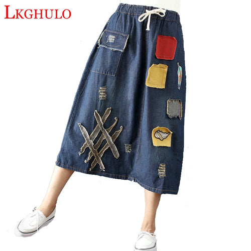 LKGHULO Women Denim Skirts Appliques Elastic Waist 2018 Autumn New Casual Women Skirts Old Vintage Chinese Style A653