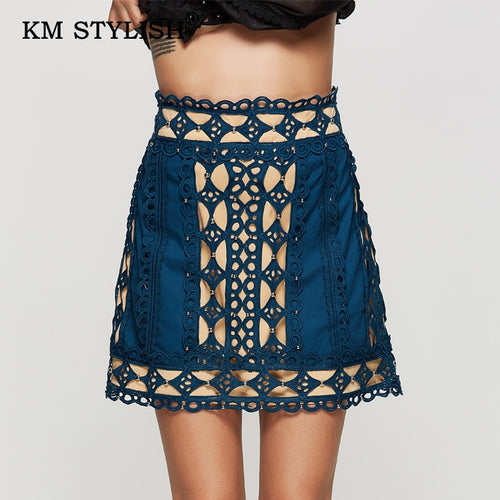 2019 New Women Autumn Beading Short Solid Lace Hollow Out Studded Casual Skirt Female Slim Skirt