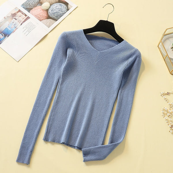 Lucyever New 2019 Autumn Pullover Women Sweater Sexy V Neck Knit Jumper Basic Top Fashion Casual Solid Female Winter Sweater