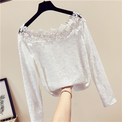 MUMUZI 2019 New Lace Flower Crochet Blouse Spring Long Sleeve Sexy Off Shoulder Lace Tops Winter Warm Fleece Shirts Female