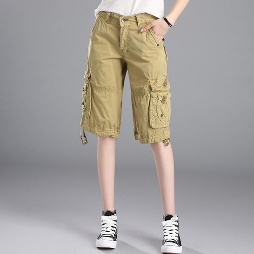 #0917 Summer 2019 Cargo Shorts Women With Multi-Pockets Casual Fashion Cotton Straight Women Shorts Plus Size Knee Length Loose