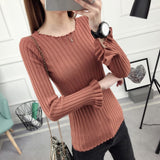 sweater women O-Neck Ruffles Sweaters Slim Fit Ladies Casual Solid Color Autumn Winter Sweater Basic Long Sleeve Pullover Top