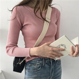 Sweater Women Pullover Jumper Tops Slim O-Neck Warm Knitted Sweater Fashion Women Clothes Female YI