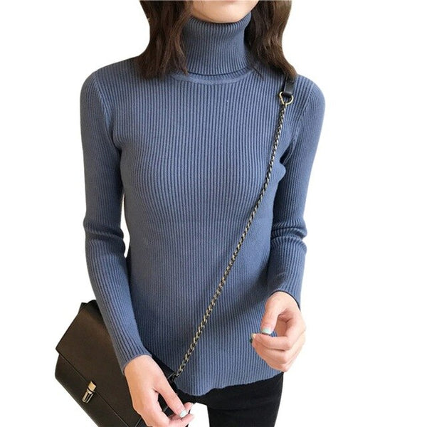 Sexy Slim Sweater Tops Womens Autumn Sweaters Slim Long Sleeve High Neck Knit Pullover New