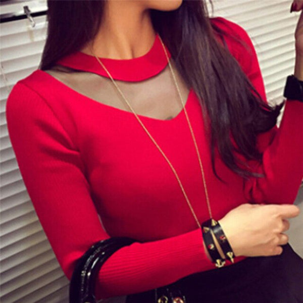 Sexy Women O-Neck Sweater Long Sleeve Solid Slim Mesh Sheer Splicing Knitwear Sweaters and Pullovers  Shirts Tops