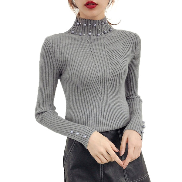 New 2019 Autumn and Winter Women Pearl Beaded Sweater O-Neck Long Sleeve Slim Women Knit Sweater and Pullover
