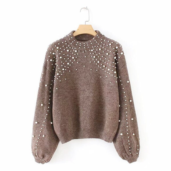 2019 Autumn winter knitted women sweaters pullovers long sleeve O-Neck Rivets Casual sweater women slim Pull Femme jumpers mujer