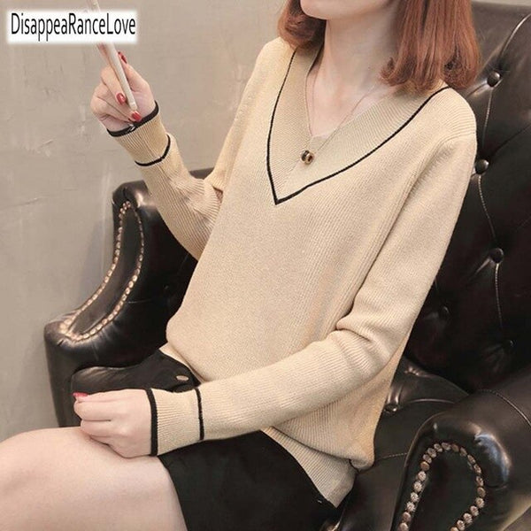 2019 Women Sweater Harajuku Kawaii Loose Wild Basic Models V Neck Sweater Female Casual Thick Jumper Retro Pullover For Women