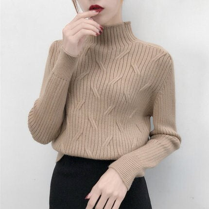 2019 New Autumn Winter Turtleneck Twist Female Pullovers and Sweaters Lazy Style Long Sleeve Women Knitted Sweaters Sueter Mujer