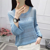 2019 Spring Autumn Women Sweaters O-Neck Hollow Out Casual Knitted Tops Female Loose Thin Long Sleeve Knit Pullover Blue Black