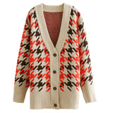Houndstooth Print Ladies Knitted Cardigan Female Casual Single Breasted Jumper 2019 Autumn Winter Oversize Women Sweater Tops