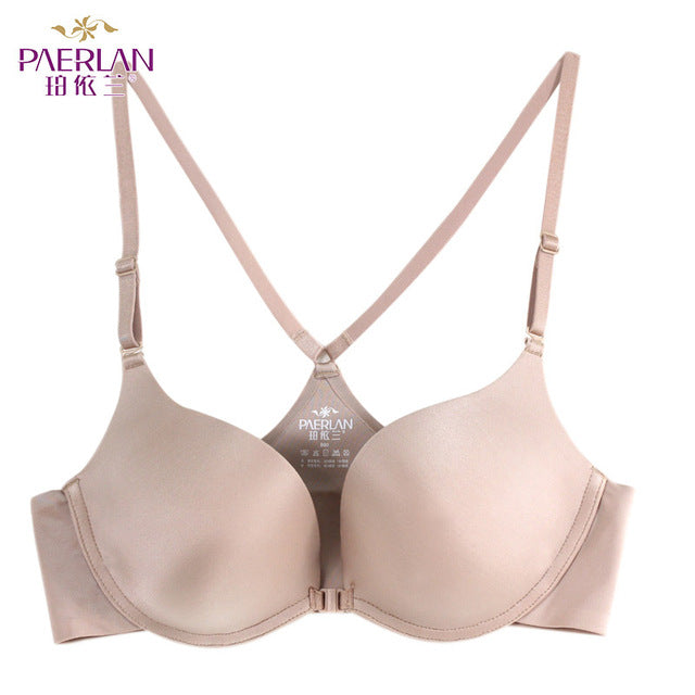 PAERLAN 2019 sexy deep V cup bra female seamless rimless bra gathered Y-shaped backless beauty back underwear