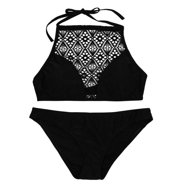 2019 NEW Swimwear For Women Lace Swimsuit Set Sexy Swimming Bathing Suit Push-up Bra Padded Wire Free Beachwear two pieces Sets