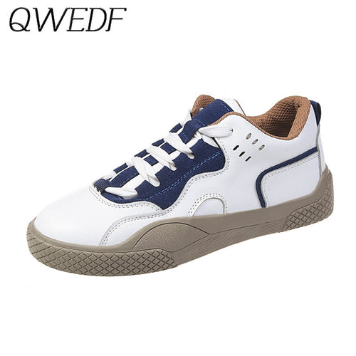 2019 White Women Sneakers Breathable Leather Shoes Spring Ladies Casual Flats Shoes Non-slip Lace Up Female Footwear Shoes U7-76