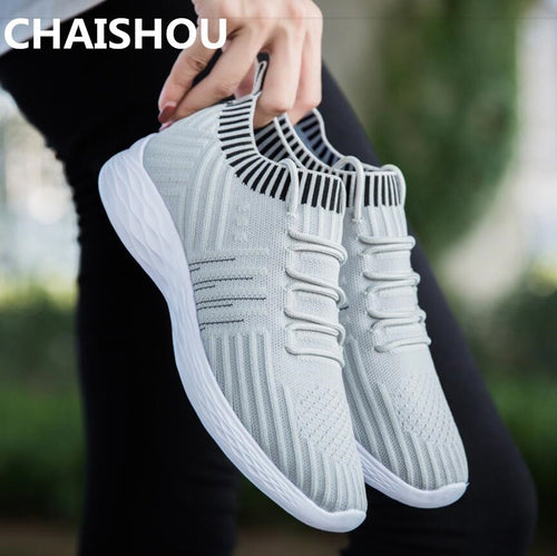 CHAISHOU 2019 Spring Plus Size Women Casual Knitting Sock Sneakers Platform Fashion Ladies Slip On Shoes Female Footwear B-163