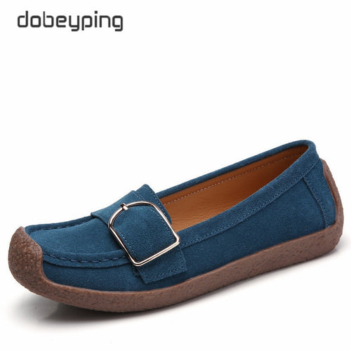 dobeyping Spring Autumn Shoes Woman Genuine Leather Women Flats Slip On Women's Loafers Female Moccasins Shoe Buckle Footwear
