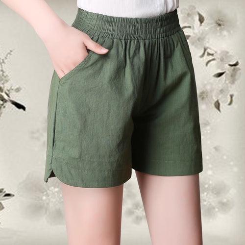 2018 New Summer Fashion Elastic High Waist Cotton Linen Shorts Women Loose Wide Leg Shorts Solid Casual Thin Female Shorts