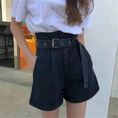 2019 Summer Women High Waist Denim Shorts Sashes Streetwear Vintage Cotton Shorts Belted Sexy Female Jeans Shorts