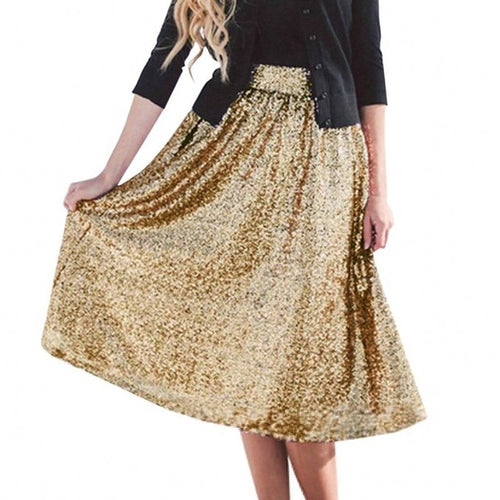 Fashion Blingbling Gold Or Hot Pink Or Royal Blue Sequins Mid Calf Skirt For Women Custom Made Trendy Skirt Color Free