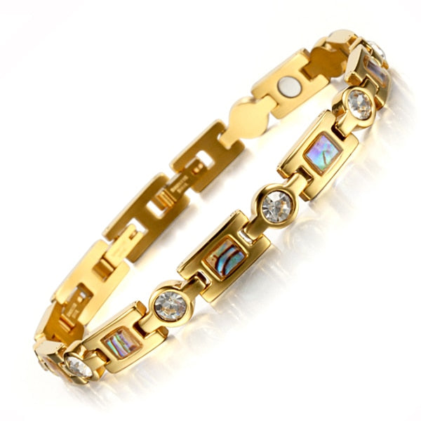 Rainso Bio Energy Bracelet with 3 Smart Buckles Magnet Bracelet Health Care Elements Gold Bracelets For Women Girlfriend Gift