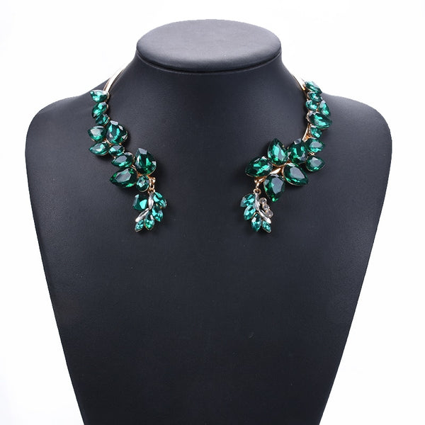 PPG&PGG New Glass Crystal Chokers Women Rhinestone Wedding Jewelry Collar Accessories Maxi Statement Necklace