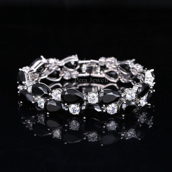 Pera Luxury CZ Green Cubic Zirconia Stone Large Women Charm Bangle Bracelets Bridal Jewelry Accessories For Bridesmaids B029