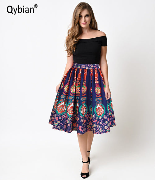 Qybian Ethnic style Color pattern printing High Waist A-Line Midi women Skirt knee-length