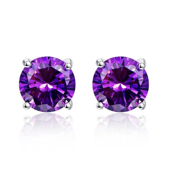 New 4.6g 925 Silver Trendy Earrings Wedding Set Amethyst Purple Pierced Earrings Ear Studs for Wedding Engagement Party Y0035E19