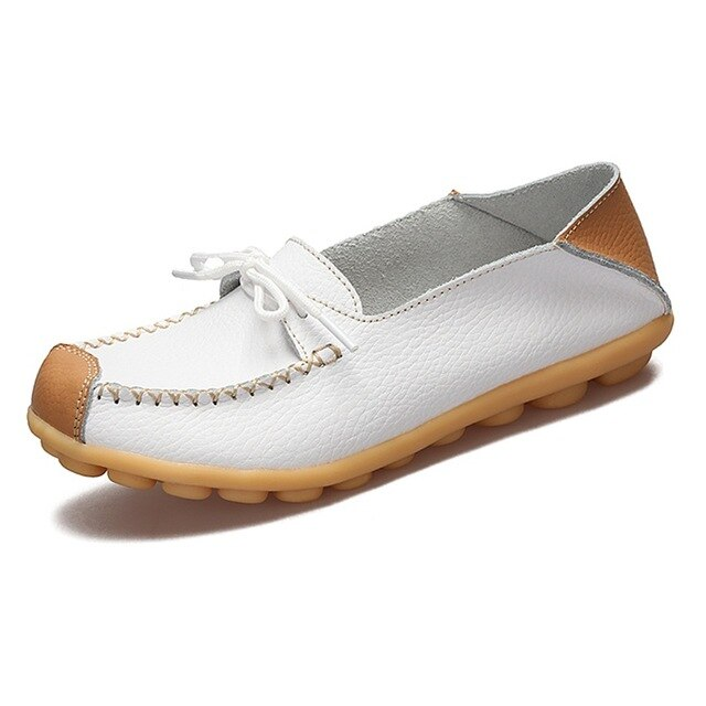 LEMAI Women Flats,Real Leather Shoes Moccasins Mother Loafers Soft Leisure Flats Female Driving Casual Footwear Size 35-44
