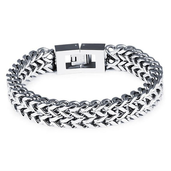 Jiayiqi Fashion Men Jewelry 316L Stainless Steel Link Chain Bracelets Bangles Punk Silver Color Wide Wristband Charm Gifts