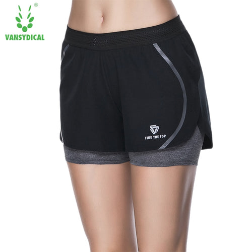 VANSYDICAL Women Compression Shorts Jogger False Two Pieces Fitness Bodybuilding Trousers Fashion Casual Shorts