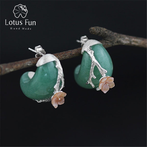 Lotus Fun Real 925 Sterling Silver Natural Stone Creative Handmade Fine Jewelry Vintage Plum Flower Stud Earrings for Women