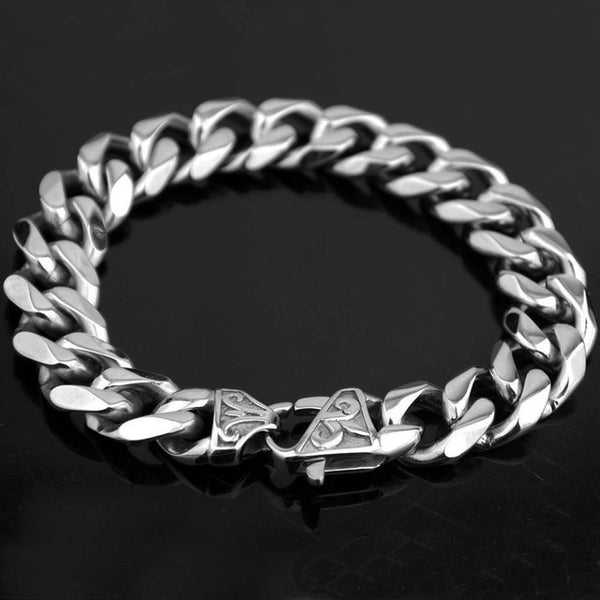 New Titanium Men's Gold Punk Heavy Twisted Link Chains Bracelet Bangles Cuff Wristband Pulseras Trendy Male Jewelry Brace lace