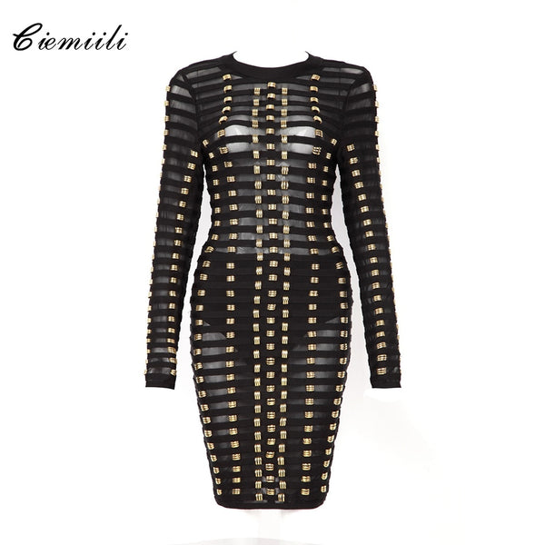 CIEMIILI Mesh Sexy See Through O Neck Bandage Celebrity 2018 Fashion Full Sleeves Sequined Party Women Dress New Bodycon Vestido