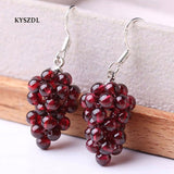 KYSZDL Natural Garnet Round Bead Hand knitting Earrings Women 's 925 Sterling Silver Fashion Earrings Jewelry Gifts