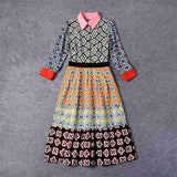 Women dresses 2018 High Quality Women Runway Dress Turn-down Collar Printed Casual Dress DX0590