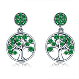 Authentic Real 100% 925 Sterling Silver Spring Green Dangle Family Tree of Life Drop Earrings Women Girl Fine Jewelry Gift
