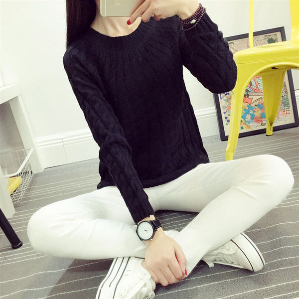 Danjeaner Fashion Casual 9 Colours Women Sweater Pullovers Retro Long Sleeve O-neck Twist Knitted Sweater Casaco Feminino