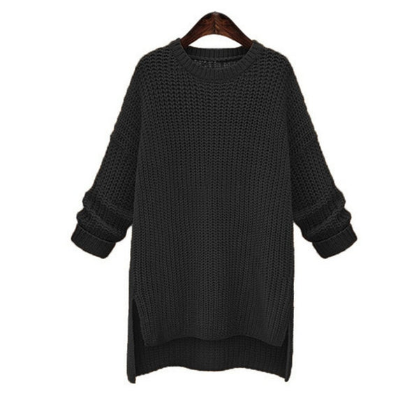 New Open-fork Long Sweater Coat Pulover Feminino Autumn Winter Women Knitted Jumper Thickened O-neck Long Sleeve Sweater
