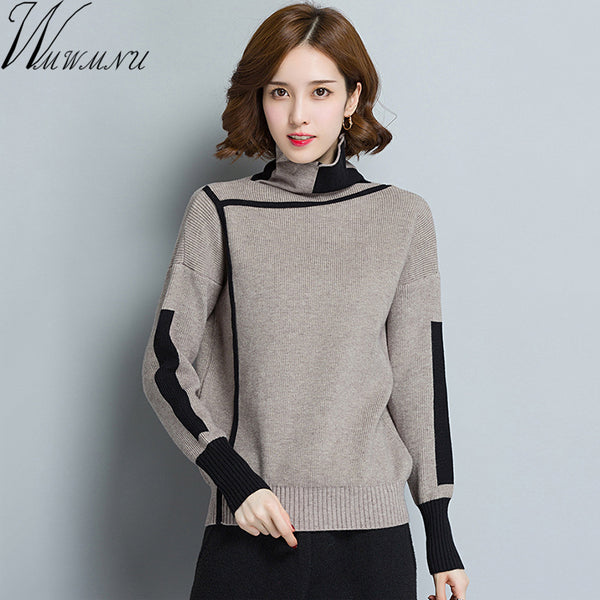 Women Turtleneck Winter patchwork Sweater Women 2018 Long Sleeve Knitted Women Sweaters And Pullovers Female Jumper Tricot Tops