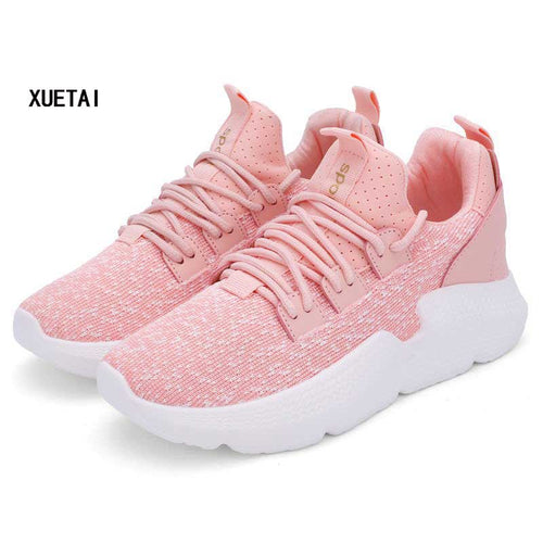 Women Shoes Fashion Flying Breathable Running Sneakers Black White Pink Female Casual Walking Shoe For Woman Shoes Footwear 2019