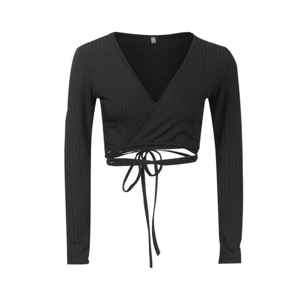 Fashion Long Sleeve Lace Up Pullover New Women Sexy V neck Cross Knitted Thin Sweater Female Solid Jumper Knitting Clothes