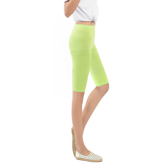 Women Knee Length Elastic Solid Color Ladies Casual Trousers Fitness Plus Size 3-5XL    XRQ88