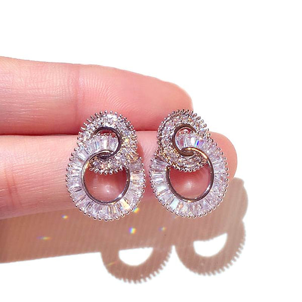 Luxury Circles Earrings For Women With 925 Sterling Silver Pins AAA Cubic Zirconia Fine Earrings Party Fashion Jewelry Accessory