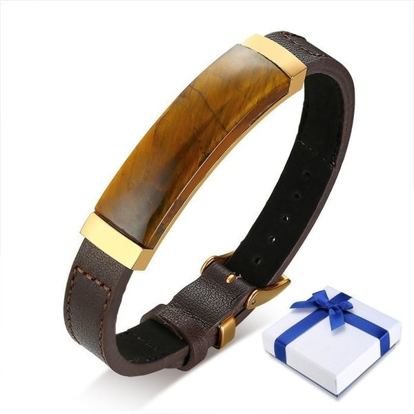 99% Men Leather Genuine Bracelet Brone Color With Tiger Eye Stone Adjustable Length Luxury Male Bangle 8.7""