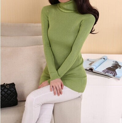 DisappeaRanceLove 2019 Brand autumn medium-long elastic sweater long-sleeve sweater female pullover turtleneck sweater