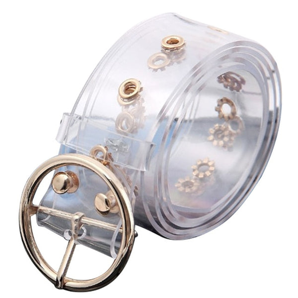 Novelty Transparent waistband resin plastic belt ladies round buckle pin buckle  Belt Fashion tide all-match Casual accessories