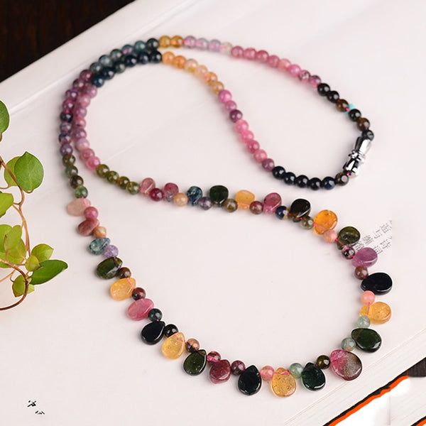 Wholesale JoursNeige Tourmaline Natural Stone Necklace With Raindrop Pendant Princess Necklace For Women Birthday Gift Jewelry