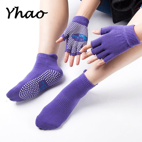 Yhao Women's Full Toes Yoga Anti-Slip Purple Socks And Gloves For Sports Fitness Pilates Socks