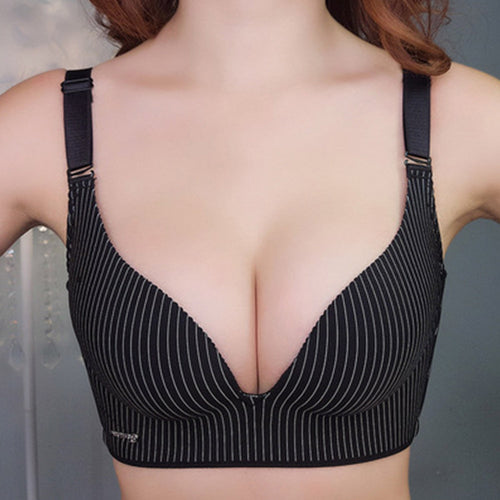 Womens Push Up Bra Seamless Gather Wireless Ladies Sexy Stripe Lingerie Plus Size Bralette Bh Top 30-40 A B C D Cup
